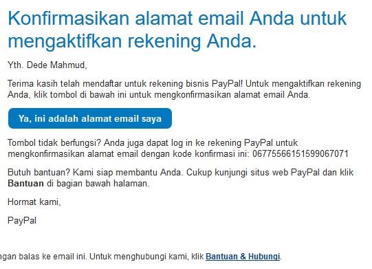 konfirmasi email paypal